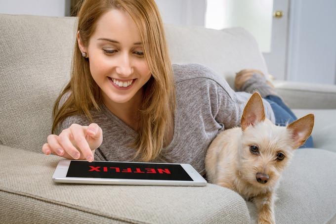 femme et chien regardant une tablette